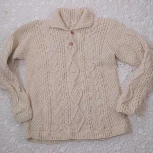 Vtg M/L Ivory Wool Fisherman Pull Over Sweater